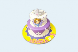 Two-tier sofia the first tiara cake
