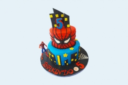 Two-tier spiderman birthday cake